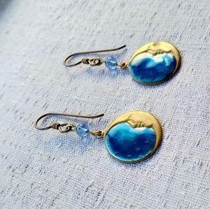 Vintage Enamel Moon Earrings Laurel Burch